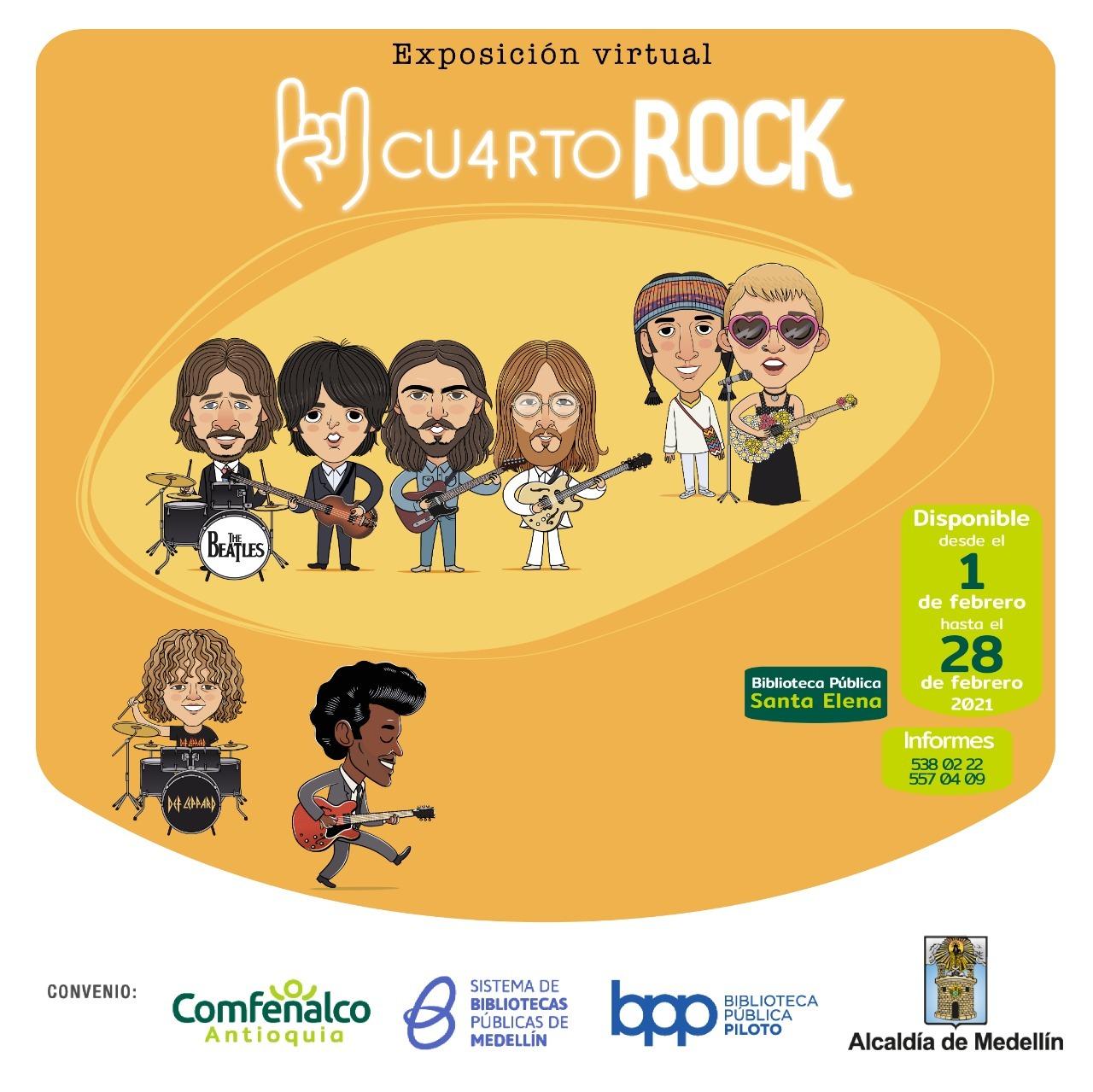 Imagen de la exposición Cuarto de rock. Aparecen caricaturas de Los Beatles, Cuck Berry y Aterciopelados.