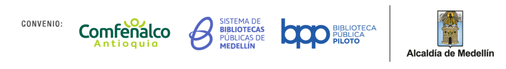 Logos del Convenio Comfenalco - Sistema de Bibliotecas Públicas de Medellín - Biblioteca Pública Piloto